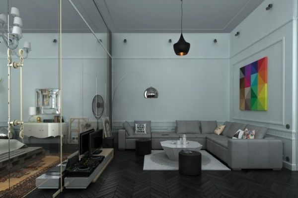 استخدام المرايا في الشقة الاستوديو