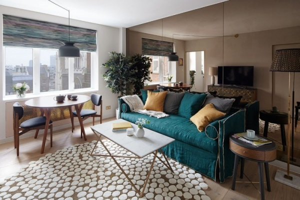 تصاميم ميدسنتورى في تزيين غرفة الجلوس الصغيرة نورليك