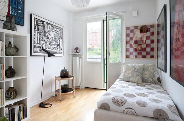 غرف النوم الصغيرة باللون الابيض