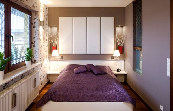 غرف النوم الصغيرة بالاضاءات العصرية