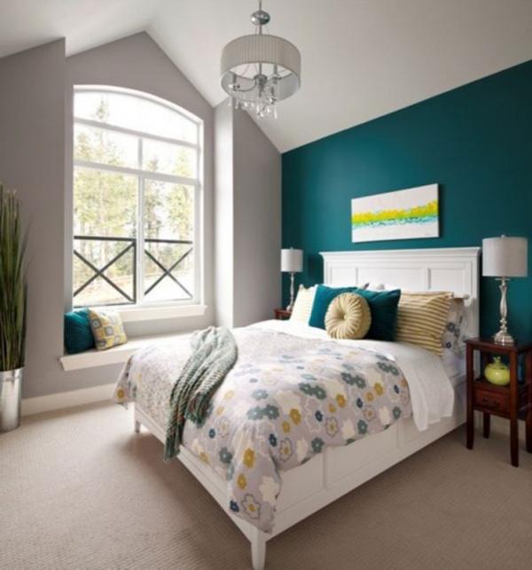 تركيب اللون الفيروزى مع الابيض من اجمل تركيبات الوان غرف نوم 2018